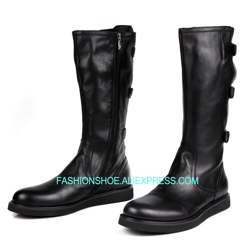 High top Men Boots Soft leather Black Knee high Army Boots Buckle Mens Shoes