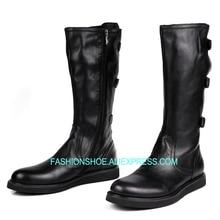 Высокие мужские ботинки из мягкой кожи, черные армейские сапоги до колена, мужская обувь с пряжкой