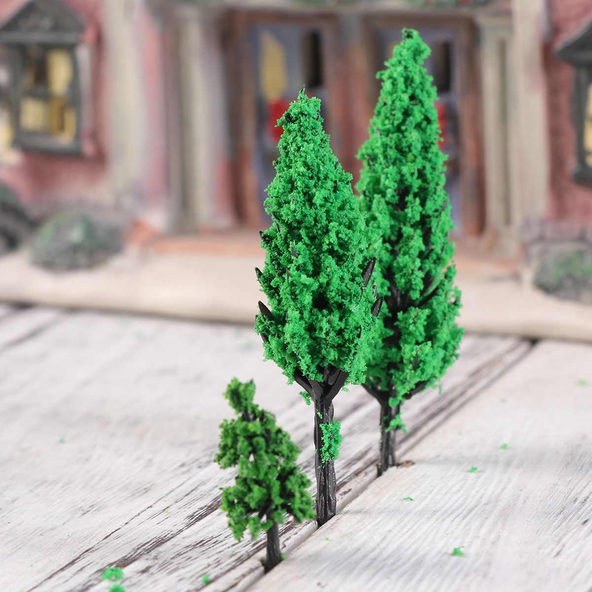 50 Uds. Modelo de parque de árboles Pino Álamo bosque Pagoda miniatura Diorama Micro diseño paisaje decoración mininaturas