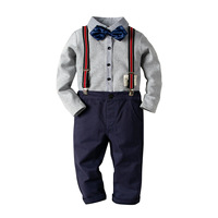 kid toddler Boys Outfit Formal Clothes Set Gentleman Bowtie Shirt+Suspender Overall Pant Set party wedding birthday