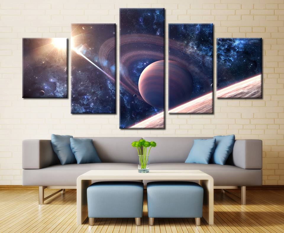 5 Pieces Saturn Satellite Sunshine Night Outer Space Sky Modern Home Wall Decor Canvas Picture Art HD Print Painting
