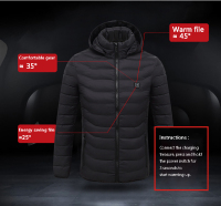 New Winter Heated USB Hooded Work Coats Adjustable Temperature Control Safety Clothing Workplace Safety Supplies