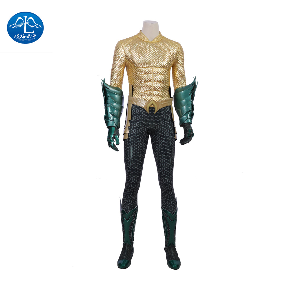 MANLUYUNXIAO Justice League Arthur Curry Aquaman Cosplay Costumes Halloween  for Men Jumpsuit Aquaman Costume