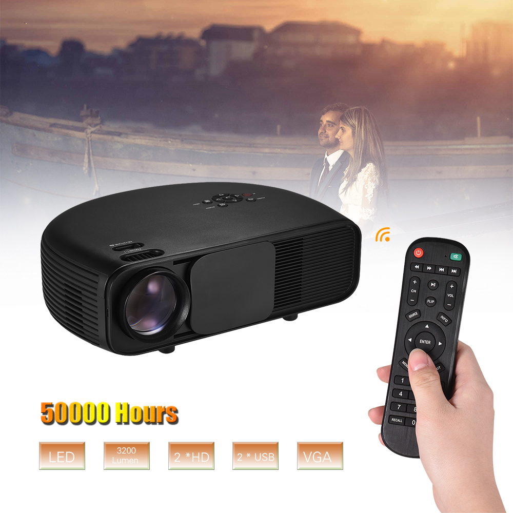 LCD Projector Full HD LED Projector 1080P Supported 50000 Hours Lamps Life with TV/ 2*HD/ 2*USB/ VGA/ AV/ Headphone Port
