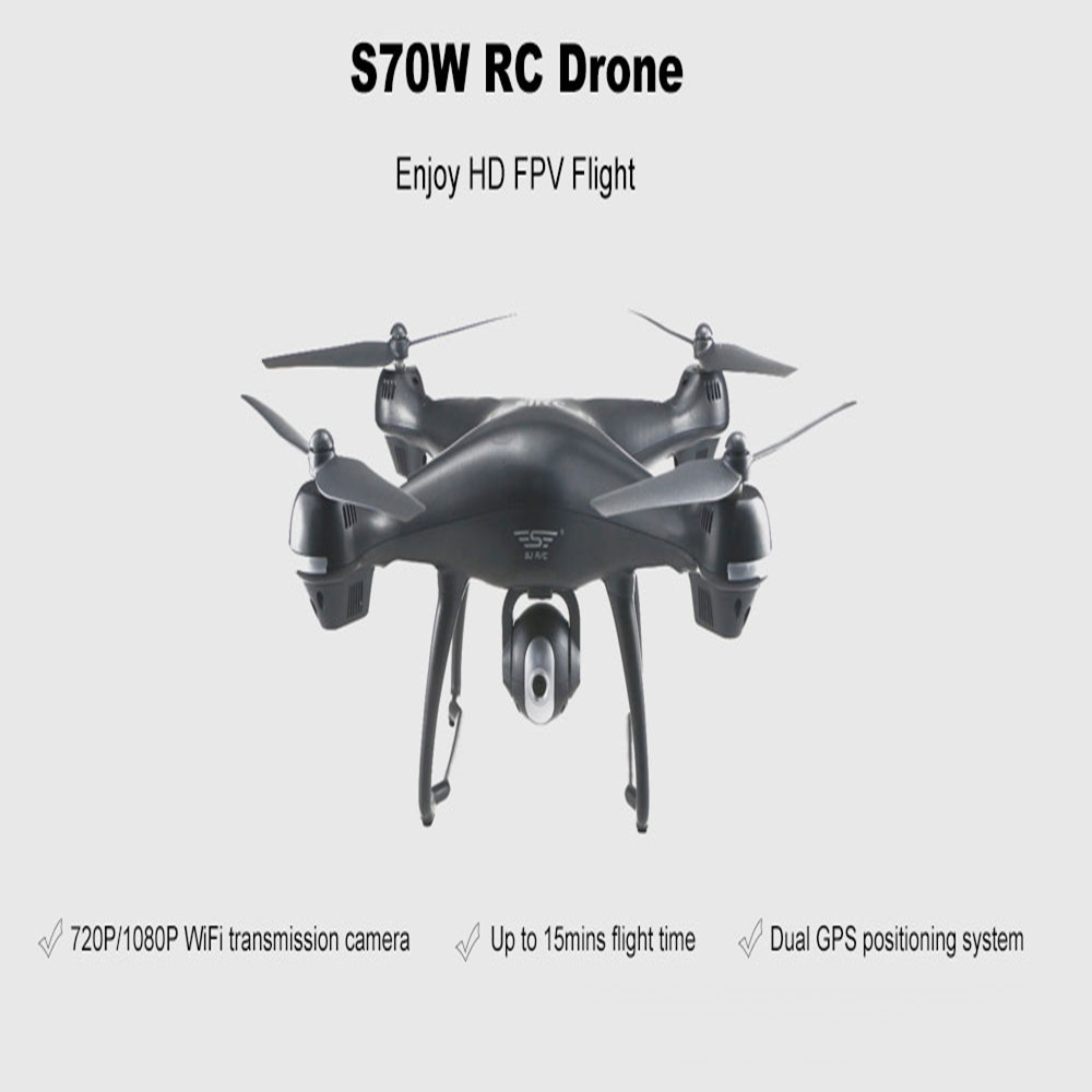 SJ RC S70W WiFi FPV RC Drone Dual GPS Auto Return Follow Tap to Fly Quadcopter image