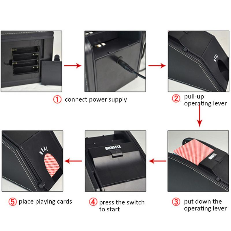 Automatique carte Shuffler électronique professionnel carte Shuffler 2 en 1 Shuffle Deal Machine à piles - 3