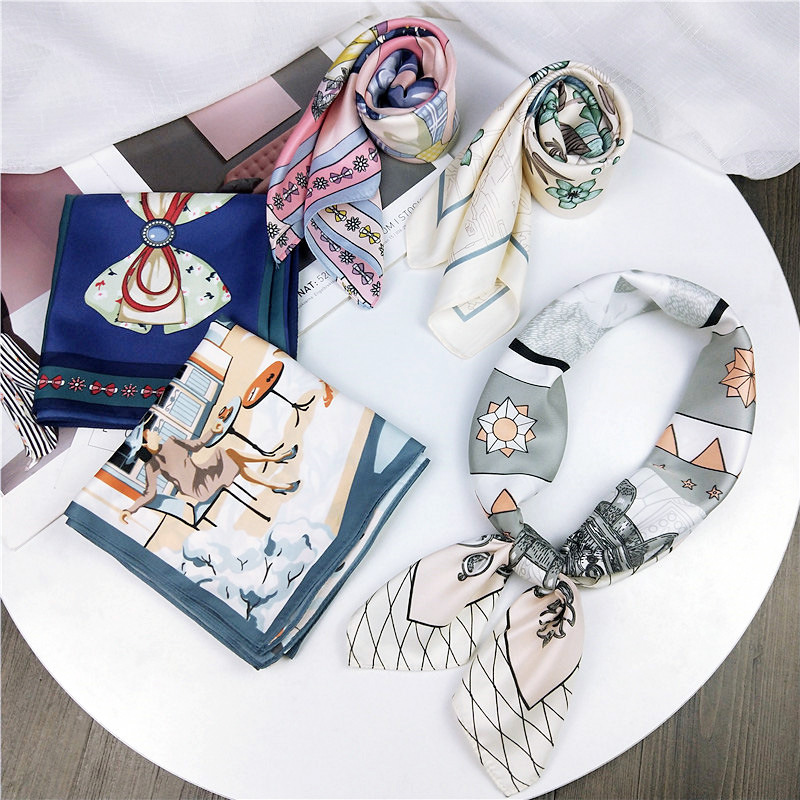 New Silk Scarf 70*70 New Fashion Bowknot Flowers Prints Women Shawl Satin Small Squares Head Bag Decorative Scarves