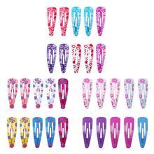 5 пар/набор Цветочный принт шпильки из сплава для маленьких девочек милые волосы клипсы для волос для детей детские колготки, для маленьких детей, новые заколки для волос