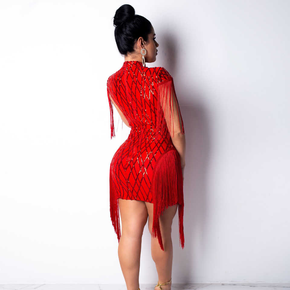 fc9f38c04d8 ... Karlofea Women Fashion Sequin Birthday Party Dress Chic Tassel Fringe  Sleeve Bodycon Dress Red Sexy Club ...
