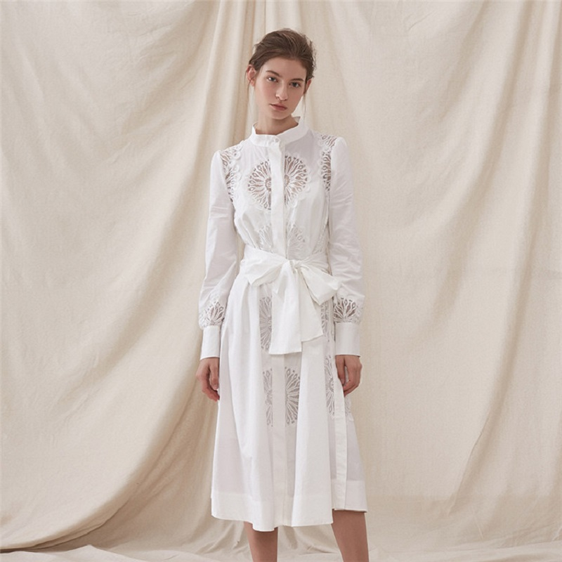 Brand Designer White Embroidery Sexy Shirt Dress Long Sleeve Sashes Stand Midi Dress  Women Summer Office Lady Clothes 2019 New