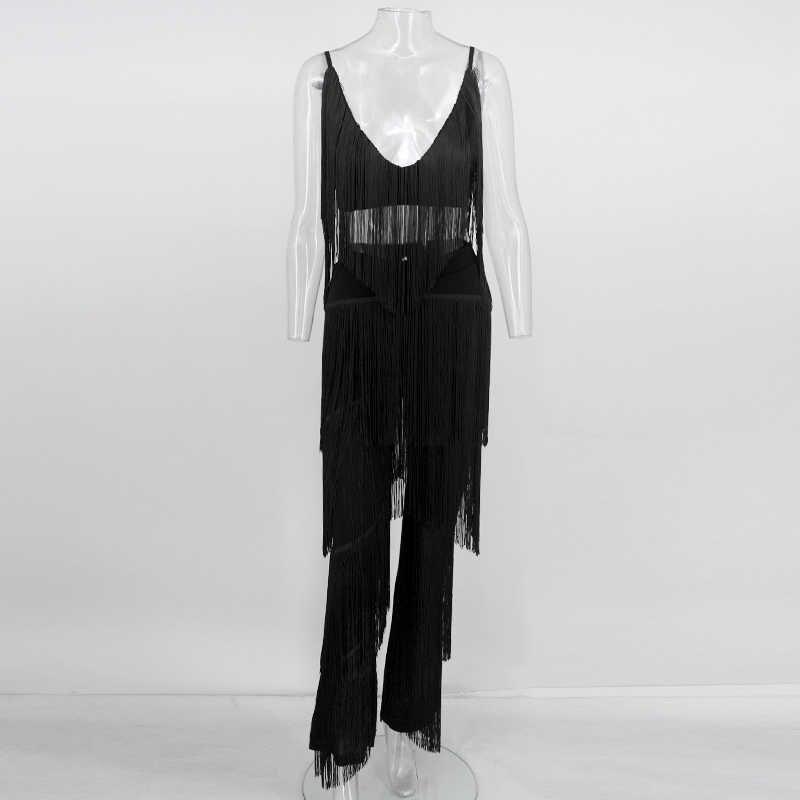 Tobinoone püskül 2 parça Set kadın kırpma üst ve pantolon kadın seti beyaz siyah Backeless seksi yaz kıyafetleri iki parçalı Set 2018