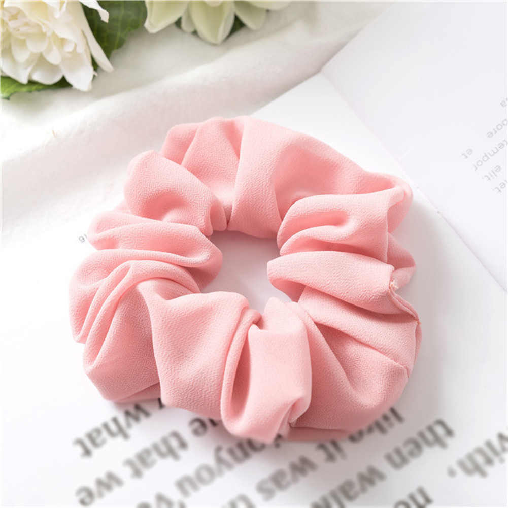 1Pc Solid Color Chiffon Satin Elastic Hair Ties For Girls Women Hair Rope Rings Scrunchies Ponytail Holder Pink Hair Accessories
