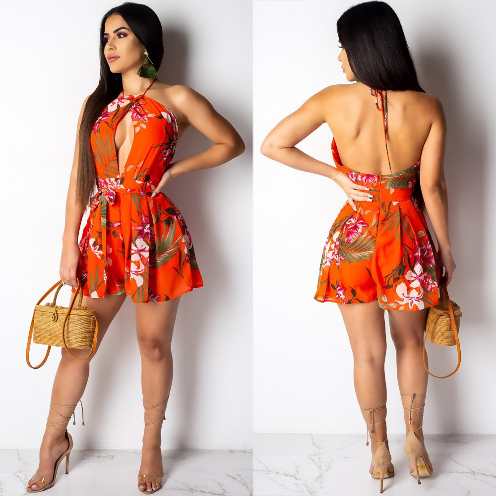 2019 Halter Sleeveless Sexy Wide Leg Rompers Women Fashion Hollow Out Floral Print Romper Summer Red Short   Jumpsuits