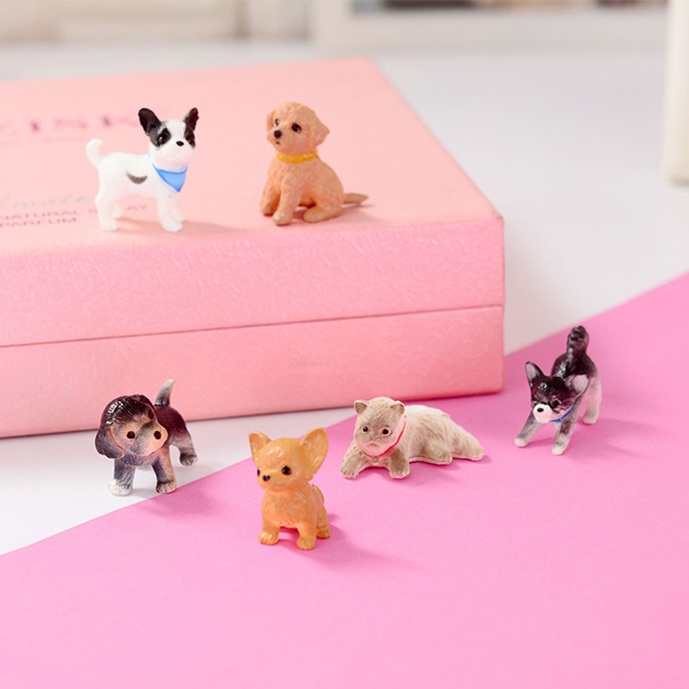6pcs Mini Cat Dog Figurines Pet Doll Crafts Model Simulation Animals Miniature Toy Cute Ornaments For Home Office