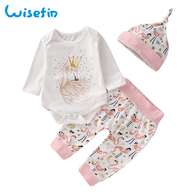 Wisefin Baby Set Newborn Girl Clothes bokep Clothing For Winter With Headband Tops+Pant