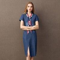 BOoDinerinle Vintage Denim Dress Women Summer 2019 Cotton Casual V neck Bow Women Denim Dresses Summer Women's Dress Jeans
