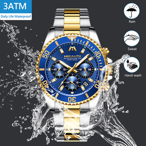 Image 4 - MEGALITH Reloj de lujo para hombre, cronógrafo de cuarzo analógico, resistente al agua, con fecha de 24 horas, de acero inoxidable