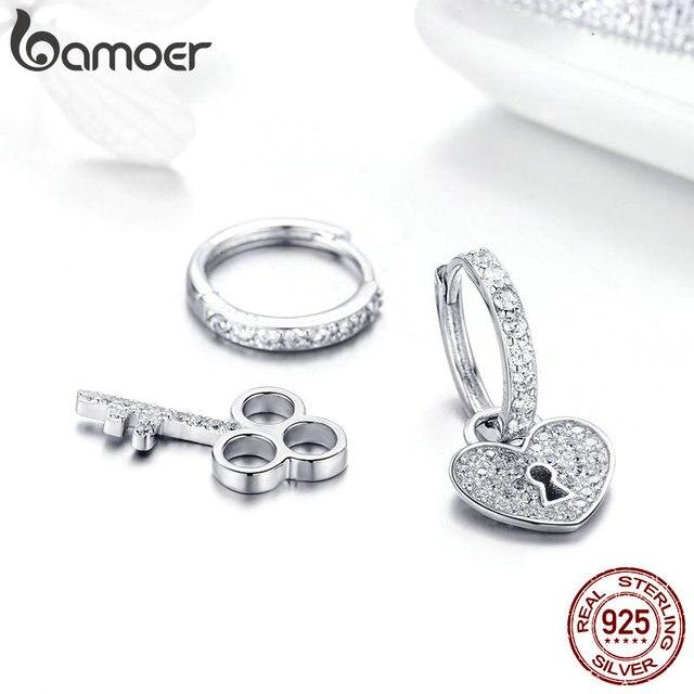 BAMOER 925 Sterling Silver Love Heart Shape Key Lock Drop Earrings 3