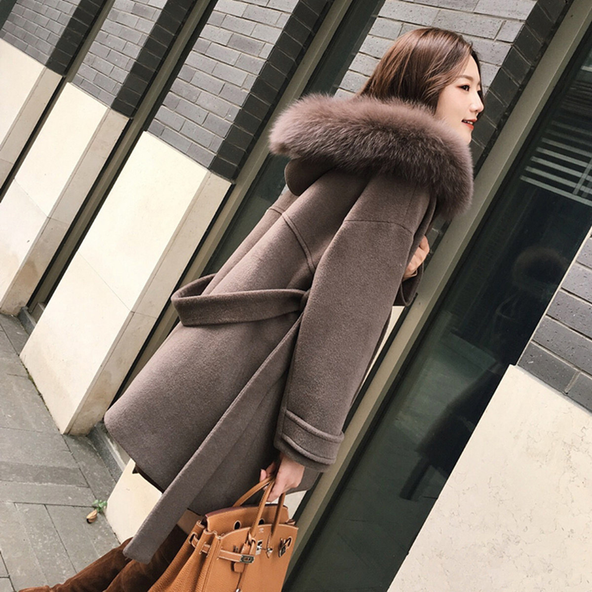 Office Lady Hooded Women Long Wool Blend Coat Double Breasted Solid Cashmere Jacket Slim Regular Ladies Coats