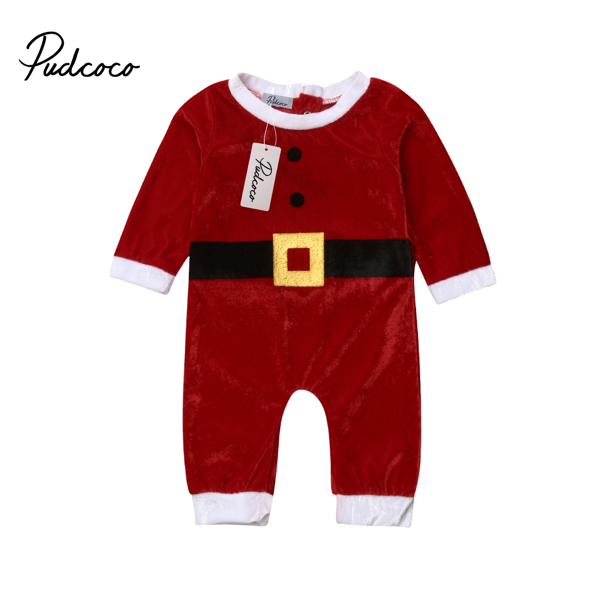 Pudcoco Baby Clothes One Piece Winter Romper Christmas Fit Nightwear New Born Baby Clothes Santa Claus Warm Long Sleeve Romper