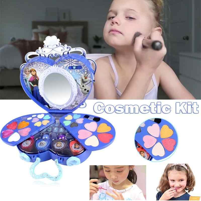 Дисней Холодное сердце Эльза и Анна макияж набор девушки Ролевые игры игрушки Практика Макияж игрушка Моделирование игрушечный туалетный столик для Kds подарок на день рождения