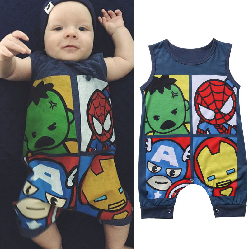 Emmababy Summer New Infant Baby Boy Girl Cotton Sleeveless baby   Romper   Jumpsuit Kids Cute Cartoon character Print Clothes Outfit