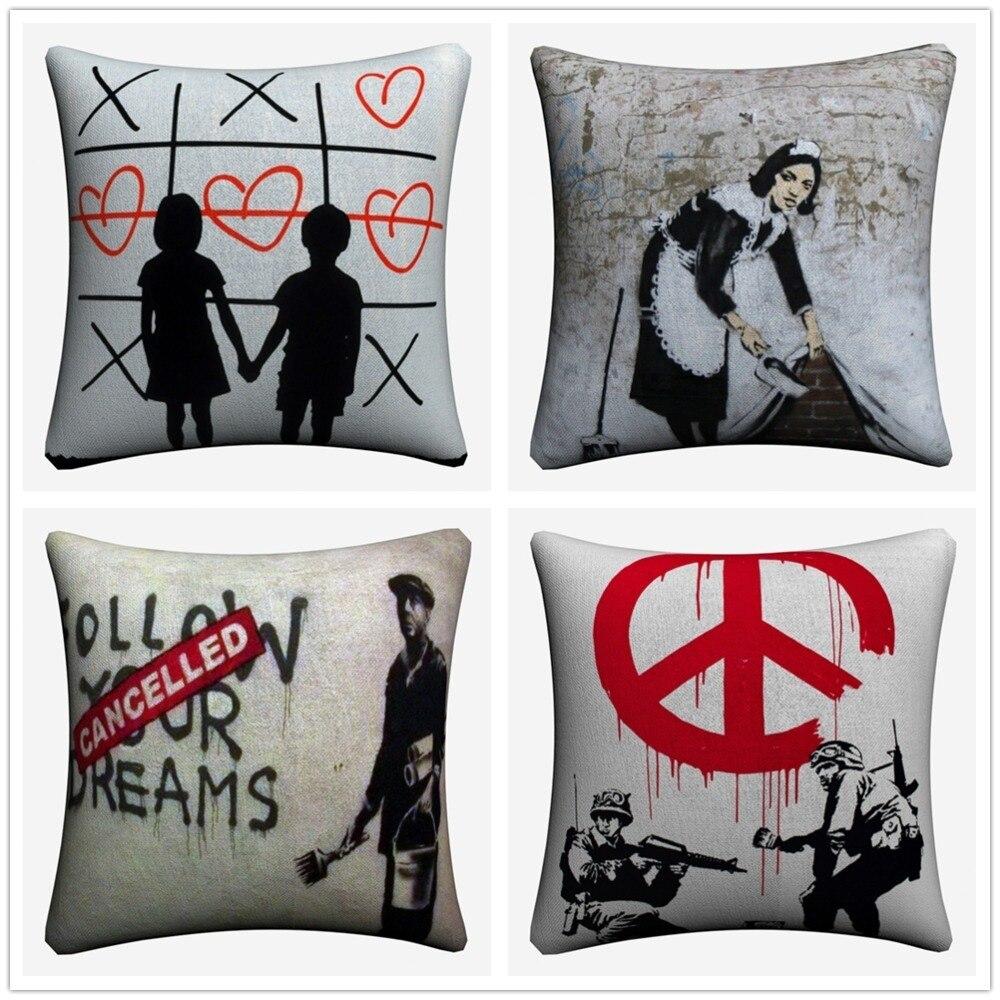 Banksy Graffiti Projeto Fronha Decorativa Para Sofá 45x45 cm Linen Throw Pillow Covers Capa de Almofada Decoração Da Sua Casa almofada