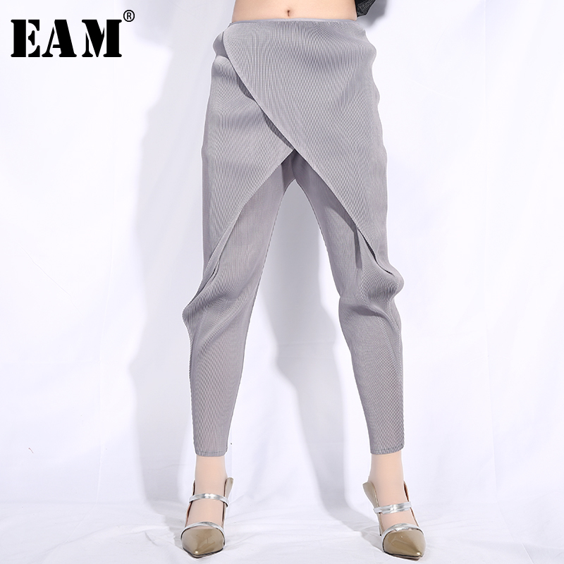 [EAM] 2019 New Autumn Winter High Elastic Waist Gray Cross Split Joint Loose Pleated Harem Pants Women Trousers Fashion JG013-in Pants & Capris from Women's Clothing    1
