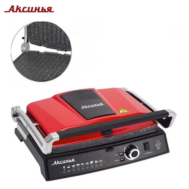Электрический пресс-гриль АКСИНЬЯ КС-5210 красная с черным,съемные панели мраморное покрытие