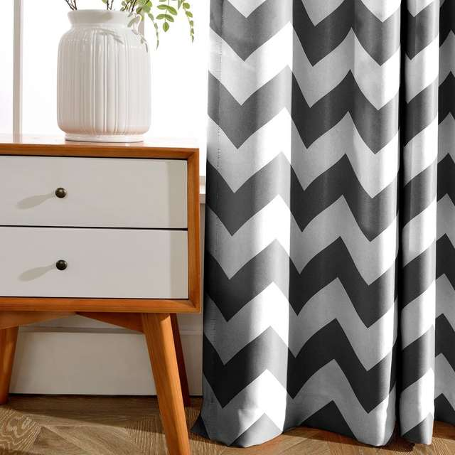Placeholder European Style Window Shade Curtain Gray Chevron Dark Blue Room Blackout Curtains For