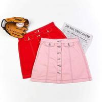 2019 The New Single Row Buckle Pink Cowboy Half body Mini Skirt Red A Word Cowboy Short Skirt Chic Design Women Tide Skirts