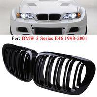 2pcs For 98 01 BMW E46 Gloss Shine Black Kidney Euro Sport Front Hood Grill