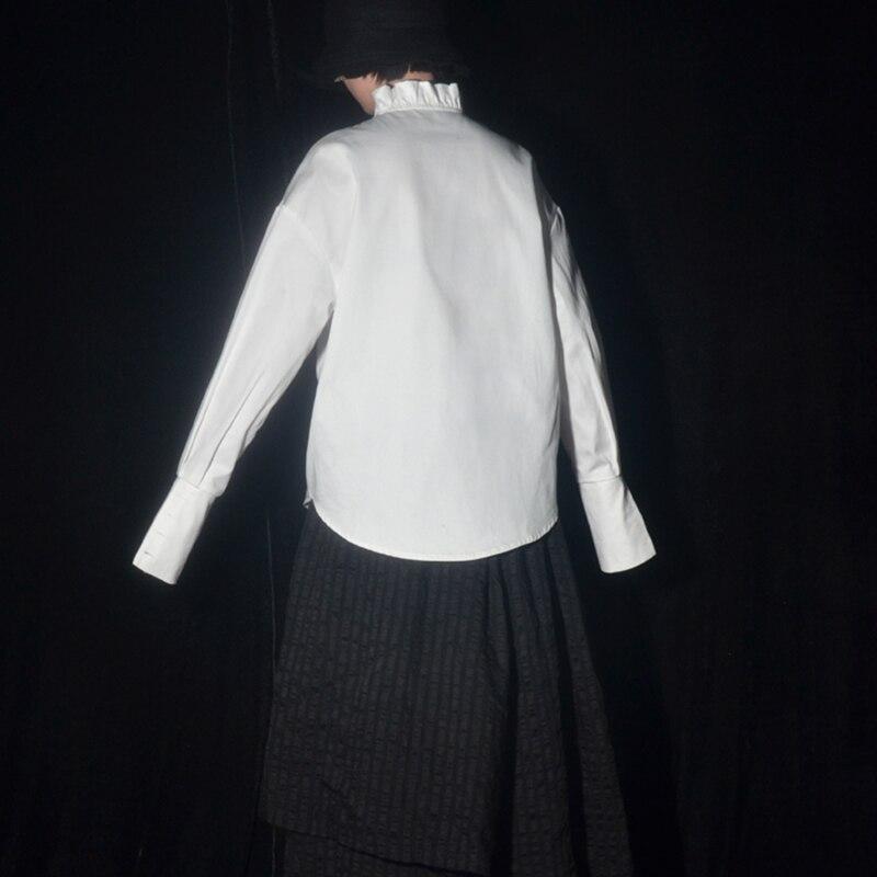 Blanco Mujer Otoño Invierno Camisa E Soporte Irregular Plisada White De Moda 2019 Color Vintage Volantes Solo Breasted L174 Suelto Xw014