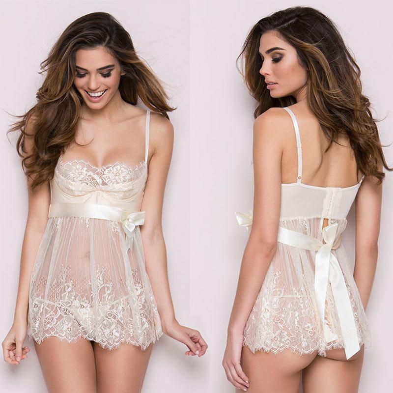 Sexy Lingerie Women Silk Solid Slim Lace Robe Dress Babydoll Nightdress Nightgown Sleepwear