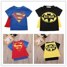 Одежда для маленьких мальчиков, детская модная крутая хлопковая Футболка с героями мультфильмов, летние футболки с короткими рукавами с изображением Супермена и Бэтмена для маленьких мальчиков, 2 вида цветов 2-7 лет