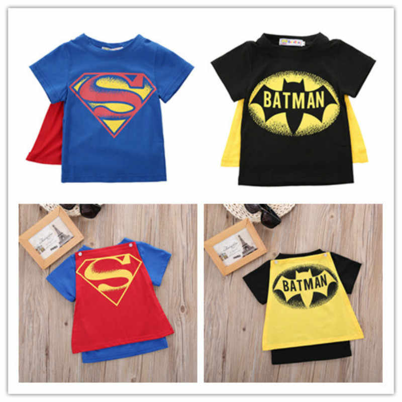 Baby boy clothes Kids Cartoon Fashion Cool Cotton T shirt Baby Boys Short Sleeve Superman Batman Summer Tee Tops 2Color 2-7Age
