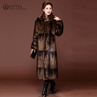 2018 Gradient Color Real Mink Coat Long Natural Fur Coats Women Winter Warm Outerwear Luxury Jacket Genuine Leather 5XL OKD599