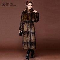 2019 Gradient Color Real Mink Coat Long Natural Fur Coats Women Winter Warm Outerwear Luxury Jacket Genuine Leather 5XL OKD599