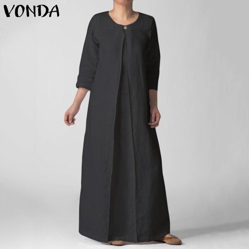 Fashion Spring Summer Dress 2019 VONDA Long Maxi Dress Seven Sleeve O Neck Botton Loose Black Dresses Plus Size Beach Vestidos