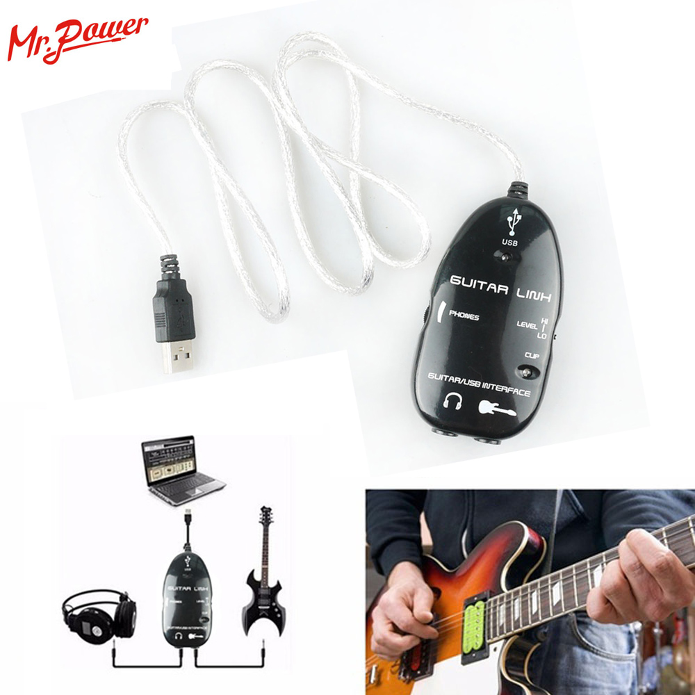 Wholesale 10 pcs Guitar Cable Audio USB Link Interface Adapter Audio Connector PC/MAC Music Recording CD for Guitar Accessories