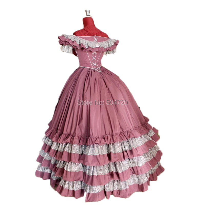 Tailored!Classical Pink Lolita dress Duchess Queen Marie Antoinette Period Masquerade Theatre Civil war Gown dress HL-269