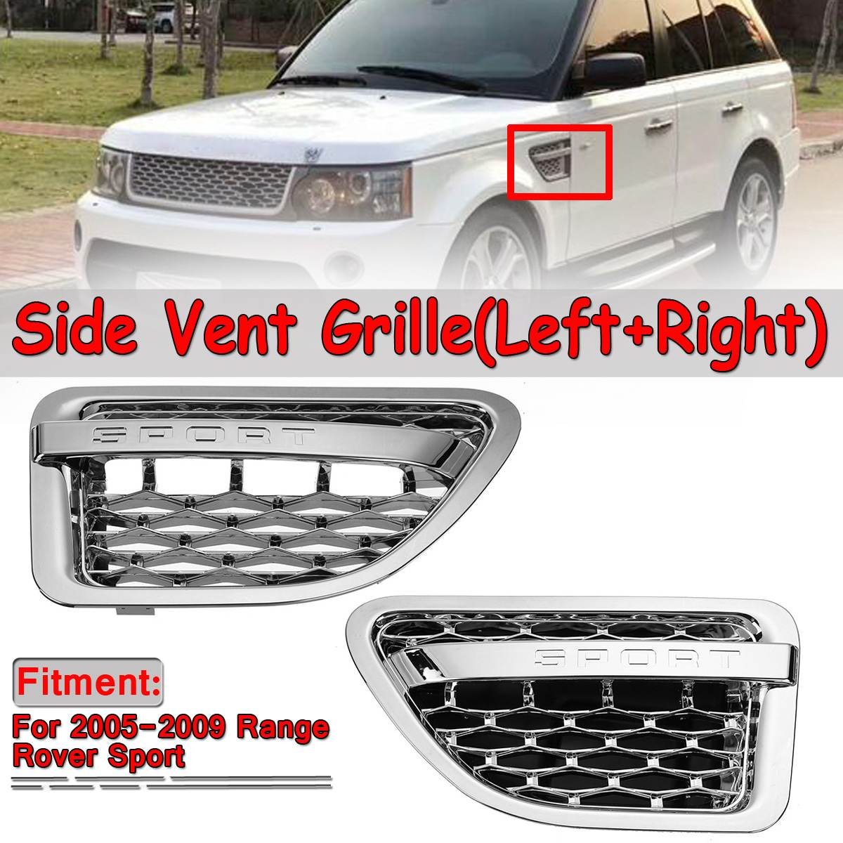 2pcs Car Side Vent Grille Grill For Land Rover For Range Rover Sport 2005-2009 Tuning Air Side Vent Grille Grid Outlet Assembly2pcs Car Side Vent Grille Grill For Land Rover For Range Rover Sport 2005-2009 Tuning Air Side Vent Grille Grid Outlet Assembly