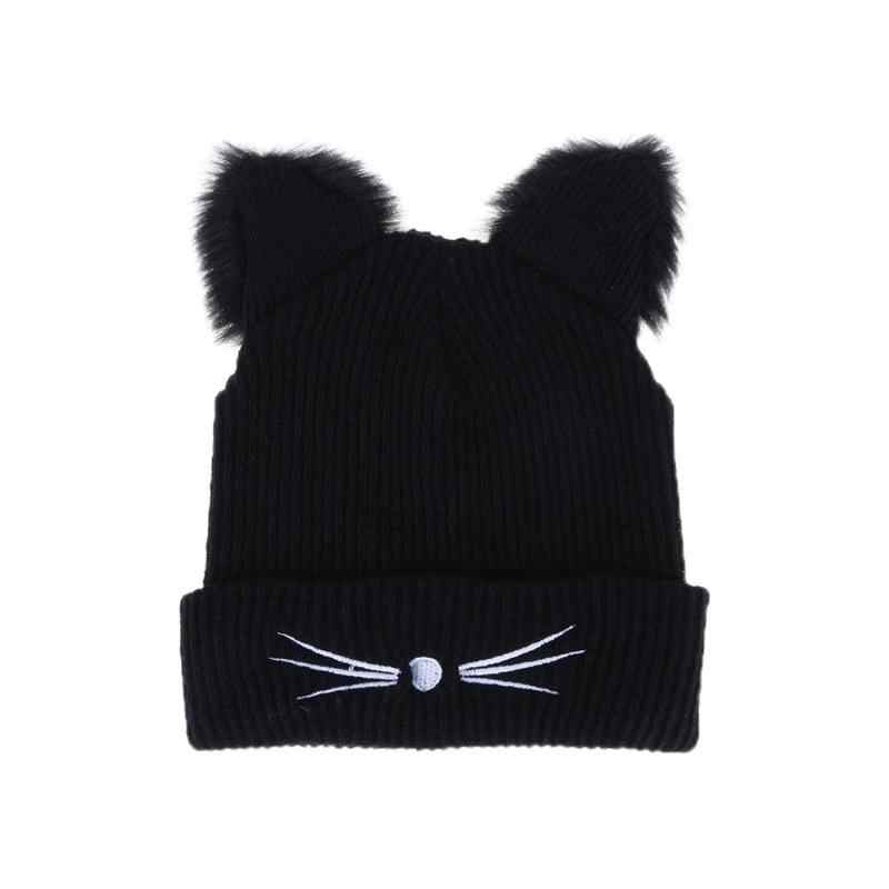 Winter Cute Cat Ears Warm Knitted Hat Women Hat Skullies Hats Pompom Caps Female Bonnet Femme Woolen Braided Fur Hat