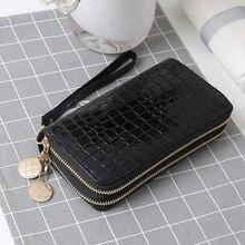 fbce8ec6e Mulheres carteiras e bolsas de couro pu longo carteira dupla zíper simples  moda multi-funcional lichia mulheres bolsa e carteira