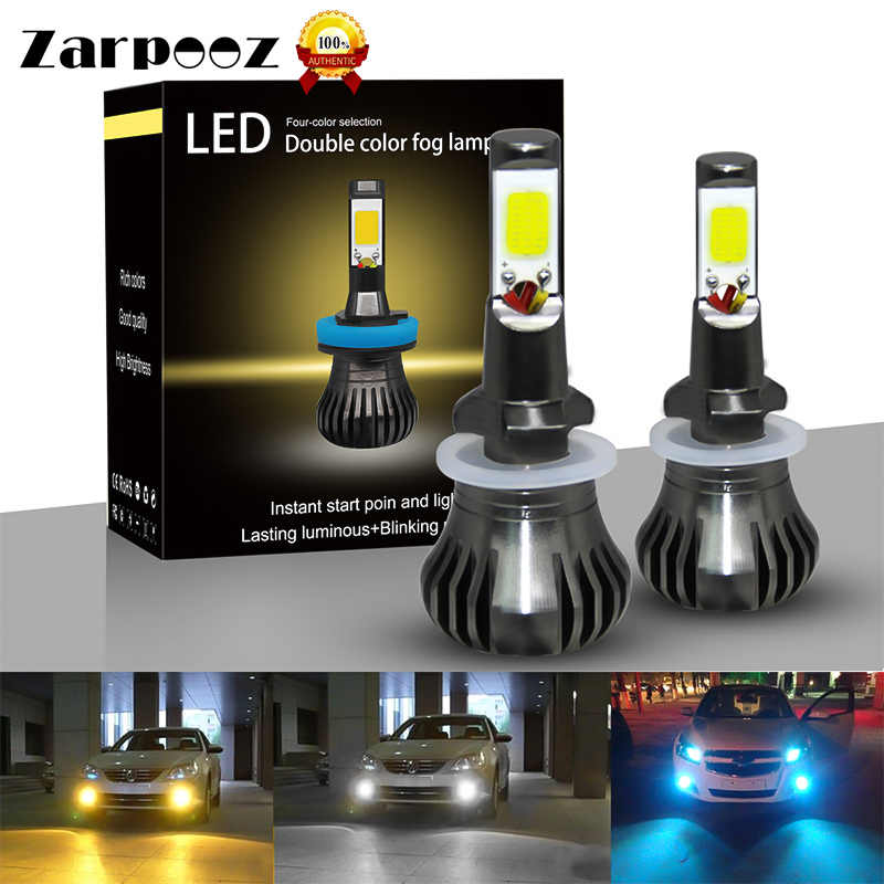 Zarpooz 2pcs/pair Car Fog LED Headlight White Yellow Blue 3 Colors H3 H8 H9 H11 880 881 Auto Headlamp COB Fog Light Bulb