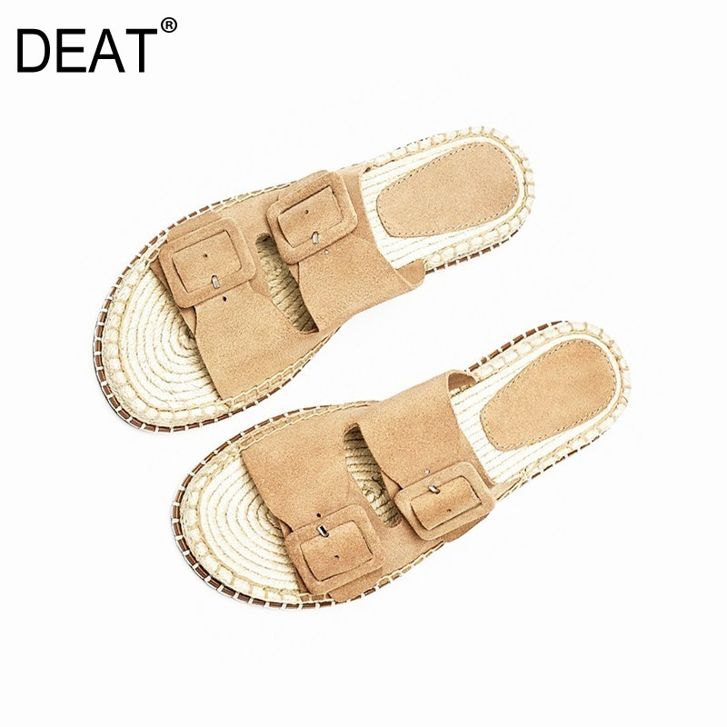 DEAT 2019 New Spring Summer Round Toe Shallow Belt Buckle Strap Casual Outside Flat Slippers