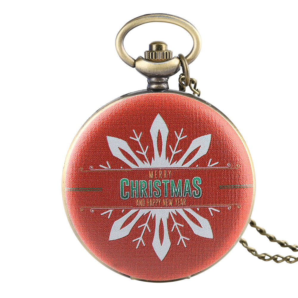 Men Women Pocket Watch Christmas Red Pattern Pocket Watches Necklace Chain Retro Arabic Digital Scale Pendant Clock Best Gifts