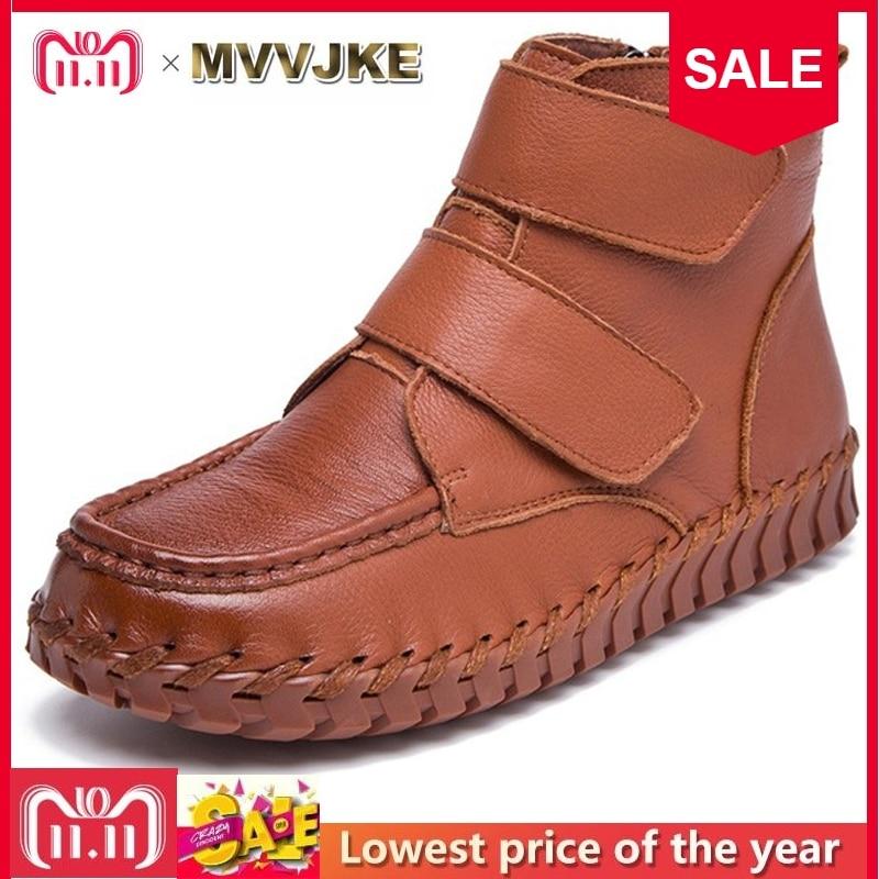 купить MVVJKE Spring Autumn Retro Women Boots Handmade Genuine Leather Flat Ankle Boots Side Zipper Women Casual Shoes Botas Mujer по цене 2506.2 рублей