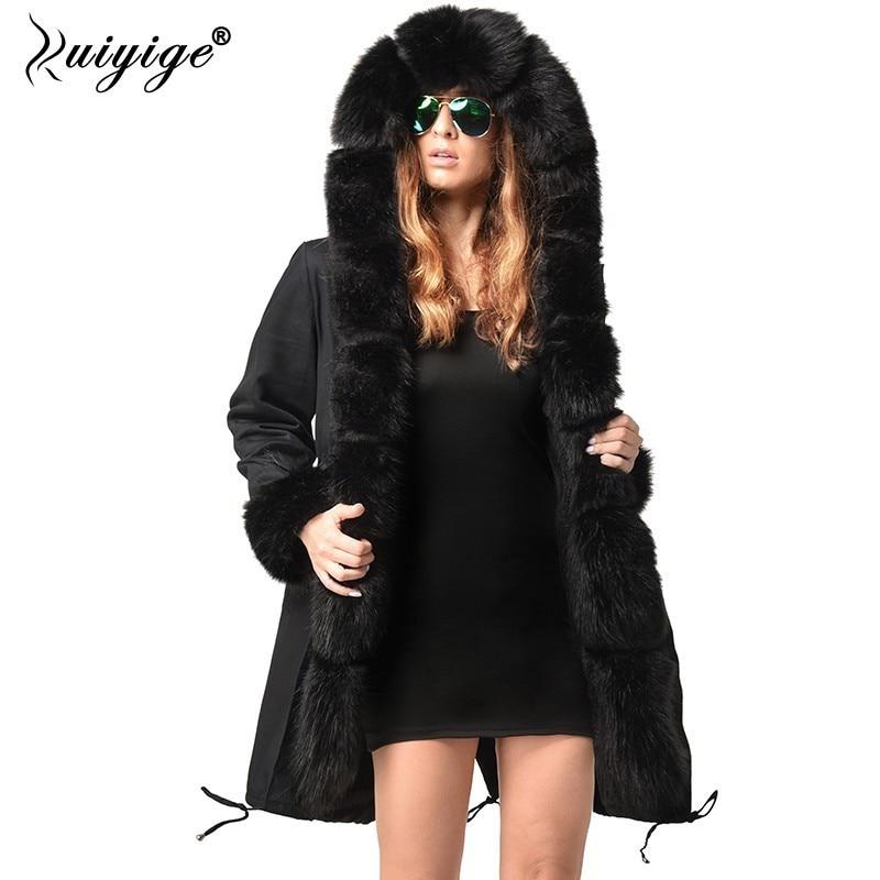 Ruiyige 2018 New Winter Jacket Women Thicken Outerwear Womens   Parkas   Fur Hooded Coats Female Cotton Women Winter Coat Plus Size