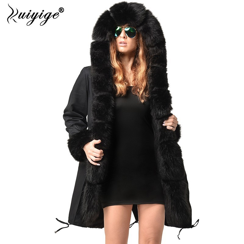 Ruiyige 2018 New Winter Jacket Women Thicken Outerwear Womens Parkas Fur Hooded Coats Female Cotton Women Winter Coat Plus Size